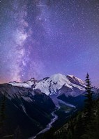 White River Valley Looking Toward Mt Rainier On A Starlit Night Fine-Art Print