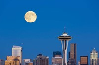 Seattle Skyline View With Full Moon Fine-Art Print