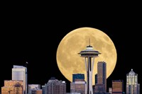 Large Full Moon Behind The Seattle Space Needle Fine-Art Print