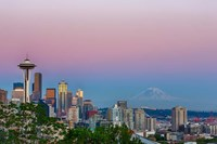 Skyline View Of Seattle With Mount Rainier Fine-Art Print