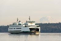 Seattle-Bremerton Ferry Passes In Front Of Mt Rainier Fine-Art Print