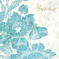Toile Roses VI Teal Happiness Fine-Art Print