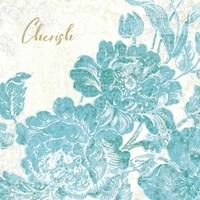 Toile Roses V Teal Cherish Fine-Art Print