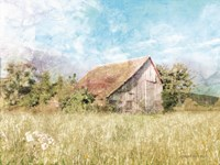 Spring Green Meadow by the Old Barn Fine-Art Print
