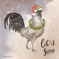 Vintage Christmas Be Merry Rooster Fine-Art Print