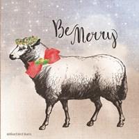 Vintage Christmas Be Merry Sheep Fine-Art Print