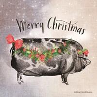 Vintage Christmas Be Merry Pig Fine-Art Print