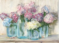 Hydrangeas in Glass Jar Pastel Crop Fine-Art Print