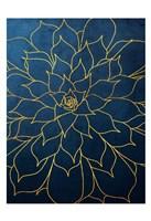 Navy Gold Succulent 1 Fine-Art Print