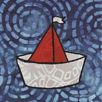 Whimsy Coastal Sailboat Fine-Art Print