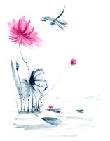 Pink Flower and a Lily Pad II Fine-Art Print