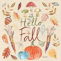 Hello Fall I Sq Burlap Fine-Art Print