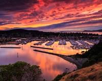 Red Sunset Over Harbor Fine-Art Print