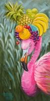 Flamingo with Fruit Baskets Fine-Art Print