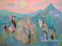 The Wolf and the Rooster Sing by Moonlight Fine-Art Print