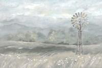 Country Meadow Windmill Landscape Neutral Fine-Art Print