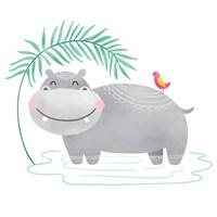 Playful Pals- Hippo Fine-Art Print