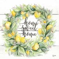 Watercolor Lemon Wreath Home Sweet Home Fine-Art Print