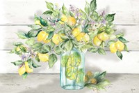 Watercolor Lemons in Mason Jar Landscape Fine-Art Print