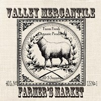 Farmhouse Grain Sack Label Sheep Fine-Art Print