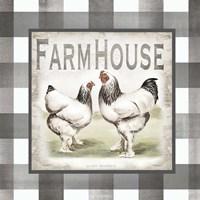 Buffalo Check Farm House Chickens Neutral I Fine-Art Print