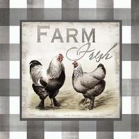 Buffalo Check Farm House Chickens Neutral II Fine-Art Print