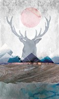 Deer and Mountains 2 Fine-Art Print