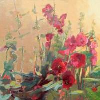 Red Haven Hollyhocks Fine-Art Print