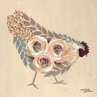 Floral Hen Blue and Yellow Fine-Art Print