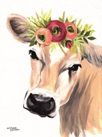 Jersey Cow with Floral Crown Fine-Art Print