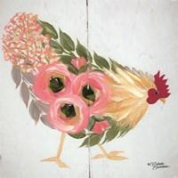 Floral Hen on White Fine-Art Print