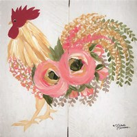 Floral Rooster on White Fine-Art Print