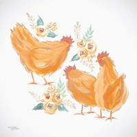 Trio of Floral Roosters Fine-Art Print