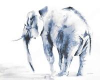 Lone Elephant Blue Gray Crop Fine-Art Print