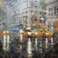 Manhattan Orange Rain Fine-Art Print