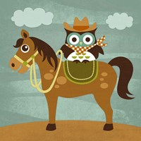 Cowboy Owl on Horse Fine-Art Print