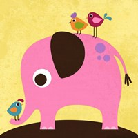 Elephant with Birds Fine-Art Print