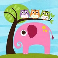 Elephant with Three Owls Fine-Art Print