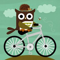 Owl and Hedgehog on Bicycle Fine-Art Print