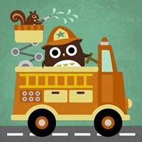 Owl in Firetruck and Squirrel Fine-Art Print