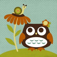 Owl Looking at Snail Fine-Art Print