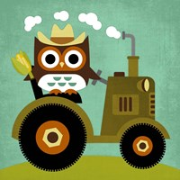 Owl on Tractor Fine-Art Print