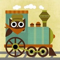 Owl Train Conductor Fine-Art Print