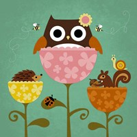 Owl, Squirrel and Hedgehog in Flowers Fine-Art Print