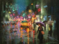 Night Rain in Village Fine-Art Print