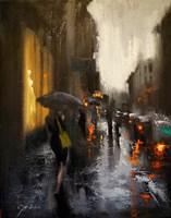 Village Cafe in Rain Fine-Art Print