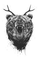 Angry Bear With Antlers Fine-Art Print