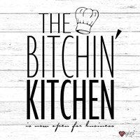Bitchin Kitchen - White Wood Fine-Art Print