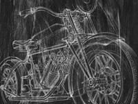Motorcycle Mechanical Sketch I Fine-Art Print
