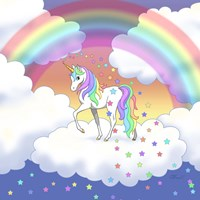 Rainbow unicorn and falling stars Fine-Art Print